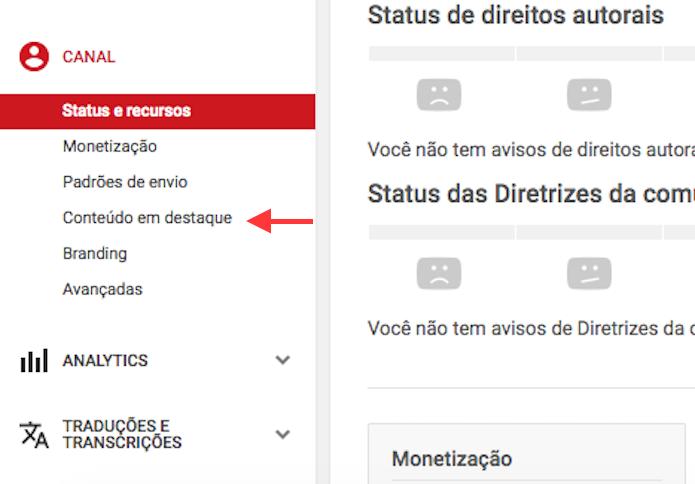 Acesso as opções de conteúdo em destaque em um canal do YouTube (Foto: Reprodução/Marvin Costa)