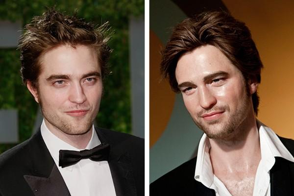 Robert Pattinson e à direita, a sua estátua de cera (Foto: Getty Images)