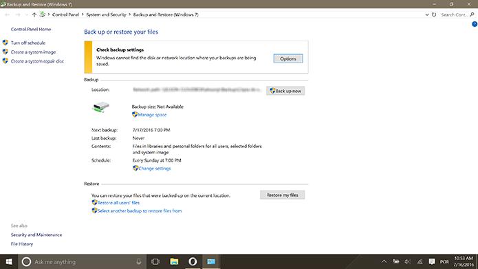 Usuário deve fazer backup do sistema antes de instalar Windows 10 Anniversary Update (Foto: Reprodução/Elson de Souza)