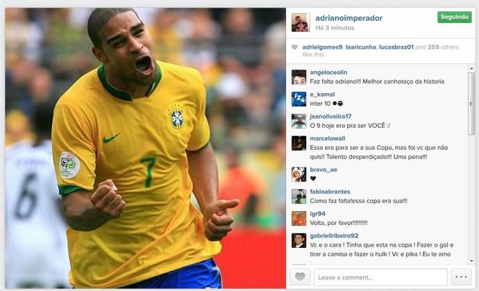 Adriano posta foto no Instagram com a camisa do Brasil (Foto: Reprodução/Instagram)