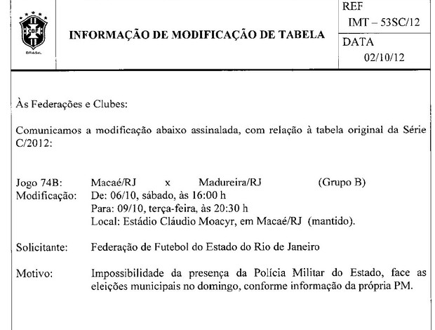 Modificação tabela Macaé x Madureira (Foto: Site FFERJ)
