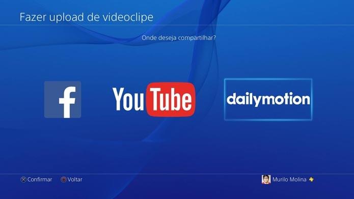 Escolha o DailyMotion (Foto: Reprodução/Murilo Molina)