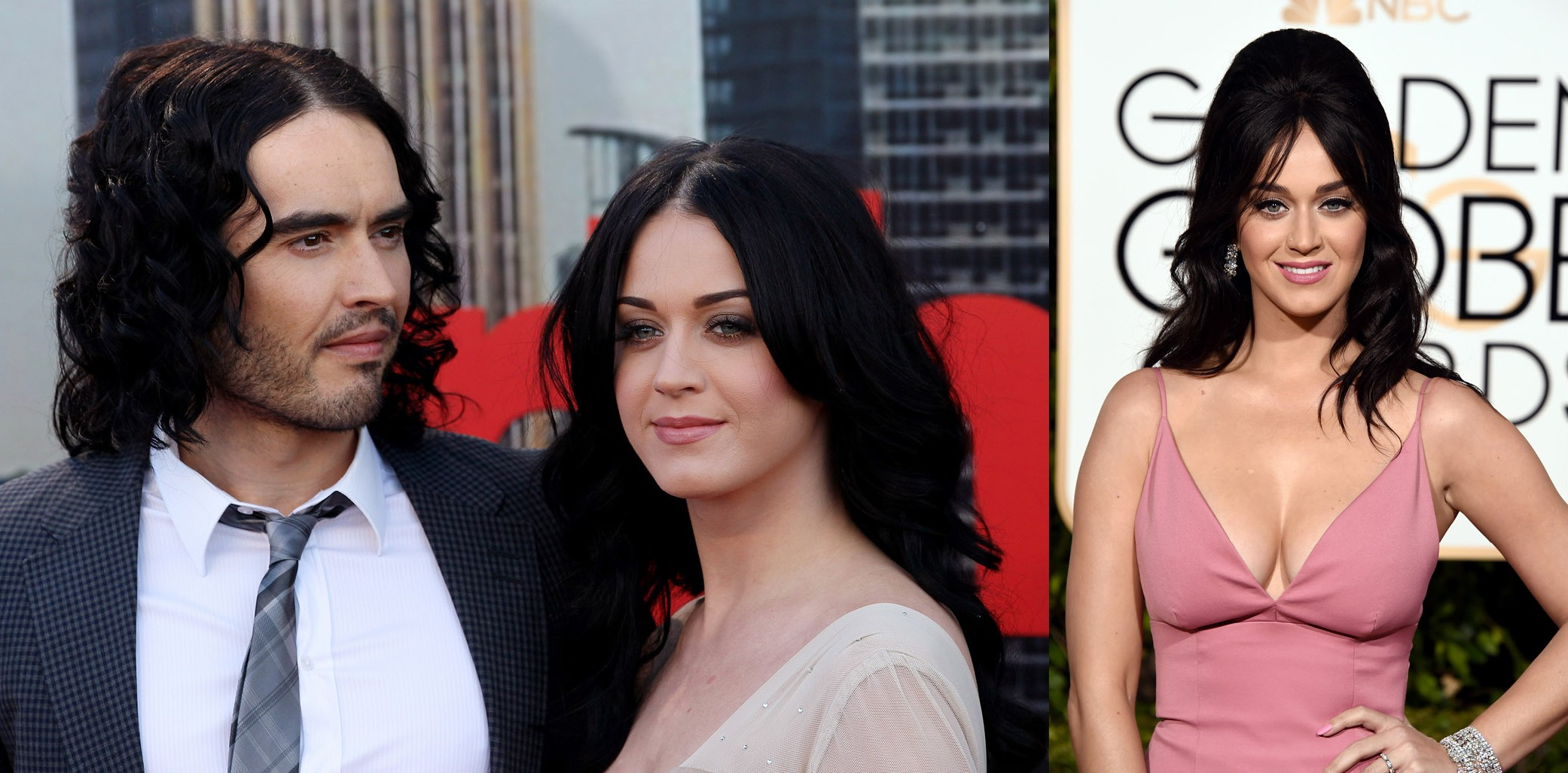 Katy Perry e Russell Brand em 2011. E Katy Perry em 2016 (Foto: Getty Images)