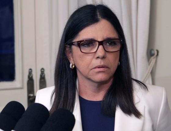 Roseana Sarney, durante coletiva de imprensa na semana passada (Foto: Hans von Manteuffel/ Agência O Globo)