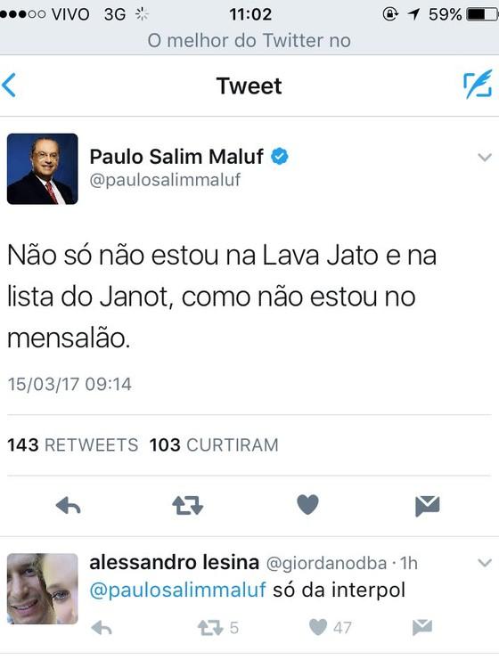 Paulo Maluf usa o Twitter para dizer que não está na lista de Janot (Foto: Reprodução/ Twitter)
