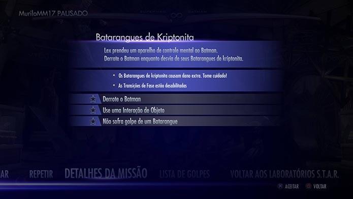 Recapitule os objetivos no menu de pausa (Foto: Reprodução/Murilo Molina)