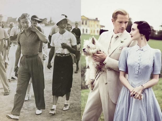 Edward VIII e Wallis Simpson durante visita a Iugoslávia, em 1936, e James D'Arcy e Andrea Riseborough em cena de 'W.E. - o romance do século' (Foto: National Media Museum/The Commons/Divulgação )