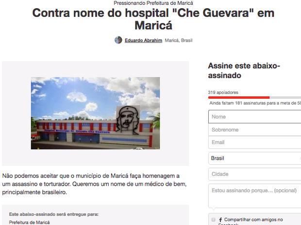 Abaixo-assinado contra nome de Che Guevara em hospital público de Maricá já tem mais de 300 apoiadores na noite desta terça (Foto: Change.org/Reprodução)