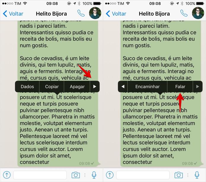 Ativando leitura em voz alta de mensagem do WhatsApp (Foto: Reprodução/Helito Bijora)