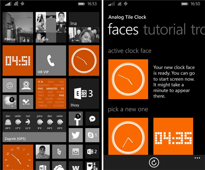 Analog Clock Tile coloca diferentes tipos de relógios na tela inicial do seu Windows Phone (Foto: Divulgação/Windows Phone Store)