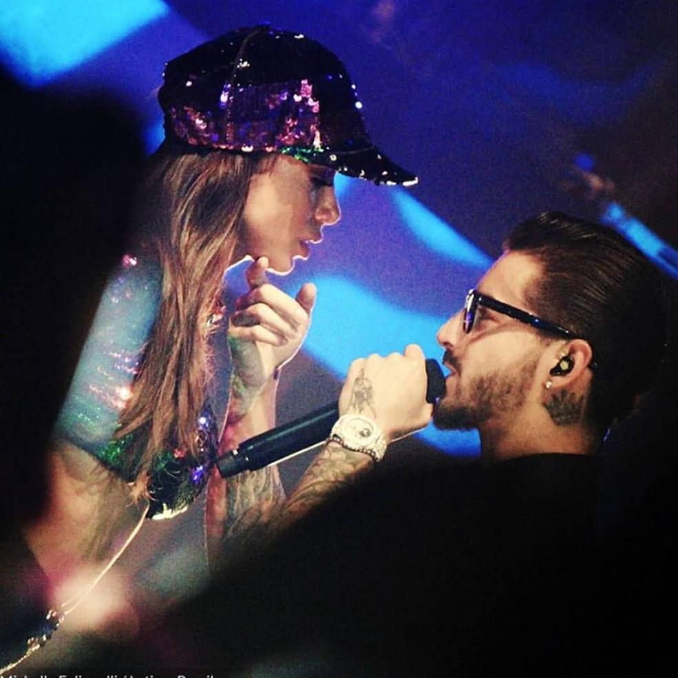 Anitta e Maluma em show no Rio de Janeiro (Foto: Reprodução/Instagram/Anitta)