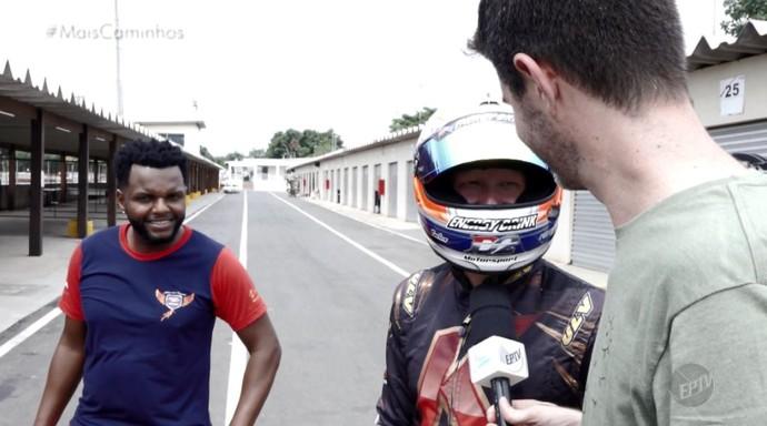 O repórter Daniel Perondi conheceu o piloto profissional de kart, Rodrigo Soares (Foto: reprodução EPTV)