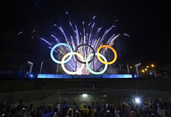 Aros olímpicos Parque Madureira rio 2016 inauguração (Foto: J.P.ENGELBRECHT)