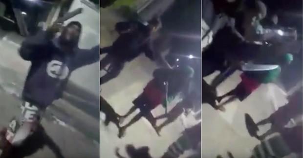 Pelo menos 10 homens com facas, pistolas, revólveres e armas de grosso calibre aparecem na suposta invasão do 'Beco do Embaço', na comunidade da África, no bairro da Redinha (Foto: Reprodução/Vídeo)