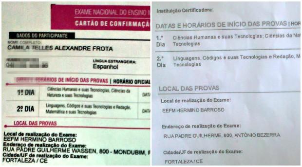 Cartão e site apresentam mesmo endereço, mas Bairros diferentes para realização de prova. (Foto: Camila Teles/Arquivo Pessoal)