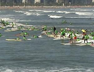 Santos tenta retomar recorde no surfe (Foto: Reprodução SporTV)