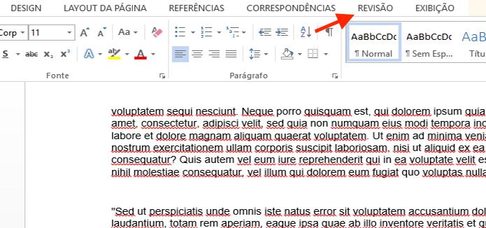 Acessando a guia de opções para revisão do Microsoft Word (Foto: Reprodução/Marvin Costa)