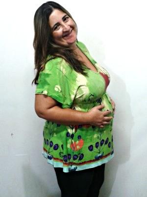 Carmem descobriu que está grávida ao ir ao ginecologista (Foto: Leandra Ribeiro/G1)