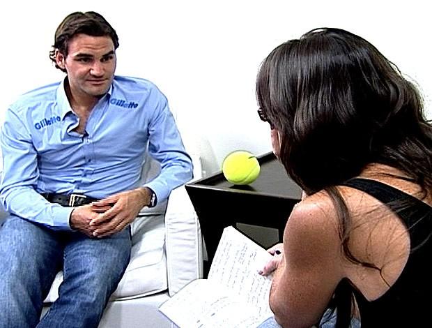 FRAME Glenda entrevista Roger Federer (Foto: Reprodução / TV Globo)