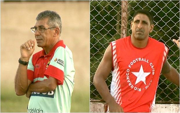 Técnico Paulo Roberto Oliveira e volante Paulinho Pitbull deixam rivalidade nos gramados (Foto: Globo Esporte Acre)