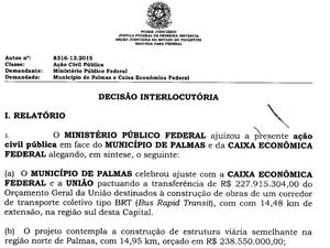 Decisão expedida pela Justiça Federal do Tocantins (Foto: Reprodução)