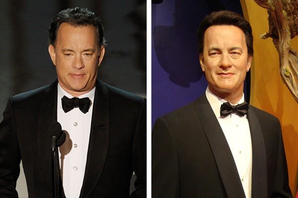 Tom Hanks e à direita, a sua estátua de cera (Foto: Getty Images / Arquivo Pessoal)