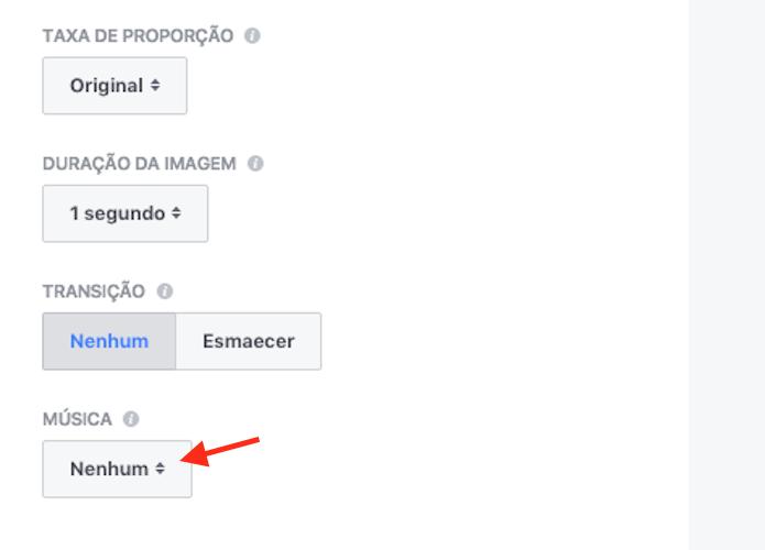 Opções para definir as características técnicas de um vídeo criado com fotos de uma página do Facebook (Foto: Reprodução/Marvin Costa)