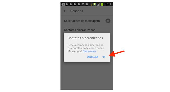 Sincronizando contatos da agenda do Android com o Facebook Messenger (Foto: Reprodução/Marvin Costa)