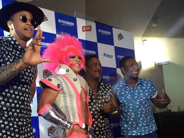Léo Santana, Beto Jamaica e Compadre Washington participaram da coletiva nesta terça (Foto: Daniela Basílio/Divulgação)