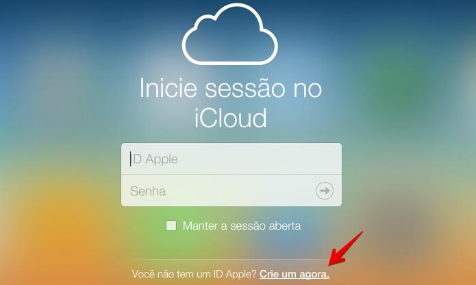 Acesse a versão beta do iCloud.com para criar uma conta (Foto: Reprodução/Helito Bijora)