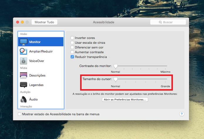Mudando o tamanho do cursor do mouse no OS X (Foto: Reprodução/Edivaldo Brito)
