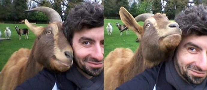 Christian Nawroth com uma das cabras do experimento (Foto: Reprodução/Christian Nawroth)