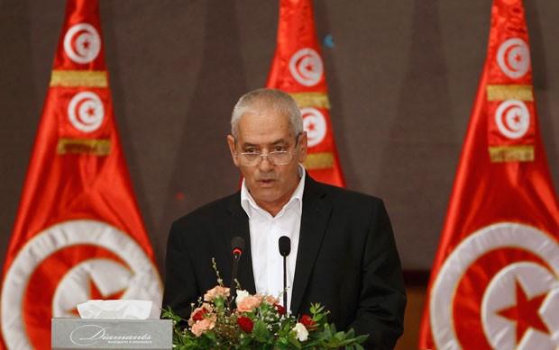 Foto de arquivo mostra o secretário geral da União Geral Tunisiana do Trabalho, Houcine Abassi, durante uma conferência em outubro de 2013 (Foto: Zoubeir Souissi/Reuters)