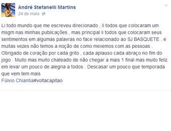 Mensagem Dedé São José Basquete (Foto: Reprodução/Facebook)