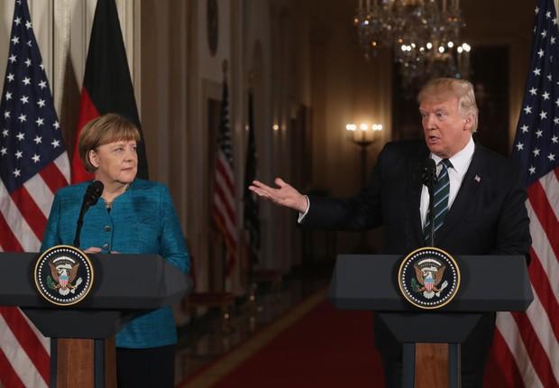 Angela Merkel e Donald Trump fazem coletiva de imprensa juntos (Foto: Justin Sullivan/Getty Images)