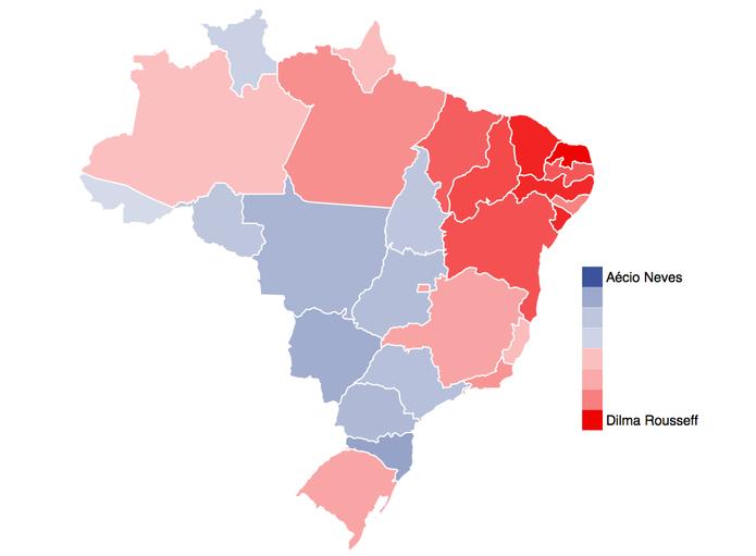 Mapa das Eleições no Facebook mostra Aécio Neves e Dilma Roussef em popularidade (Foto: Divulgação/Facebook)