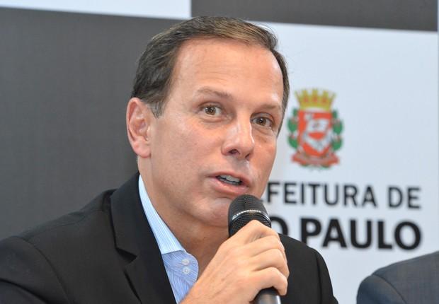 O prefeito de São Paulo, João Doria (PSDB), durante coletiva de imprensa (Foto: Fernando Pereira/SECOM)