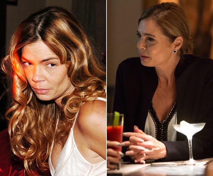 Alexia em cena em 2006, no Linha Direta, e em 2015, em Verdades Secretas (Foto: Márcio de Souza/ Felipe Monteiro/ TV Globo/ Gshow)