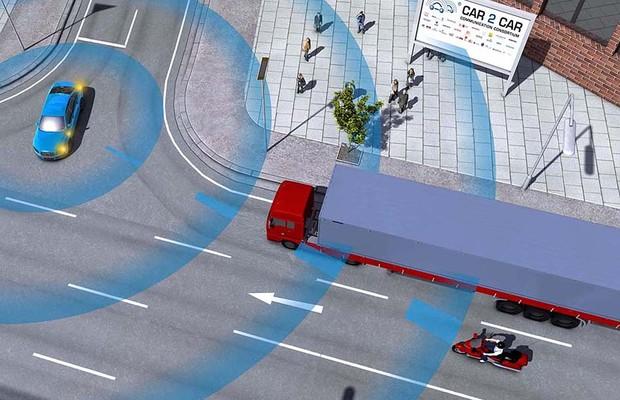 Sistema de conectividade entre carros alerta motorista sobre perigo no ponto cego (Foto: Divulgação/CAR 2 CAR Communication Consortium)
