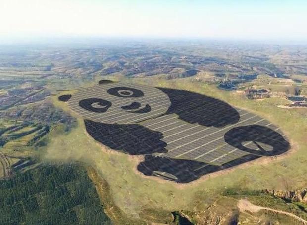 Esta imagem é uma representação artística do painel solar em forma de panda, na China (Foto: Divulgação)