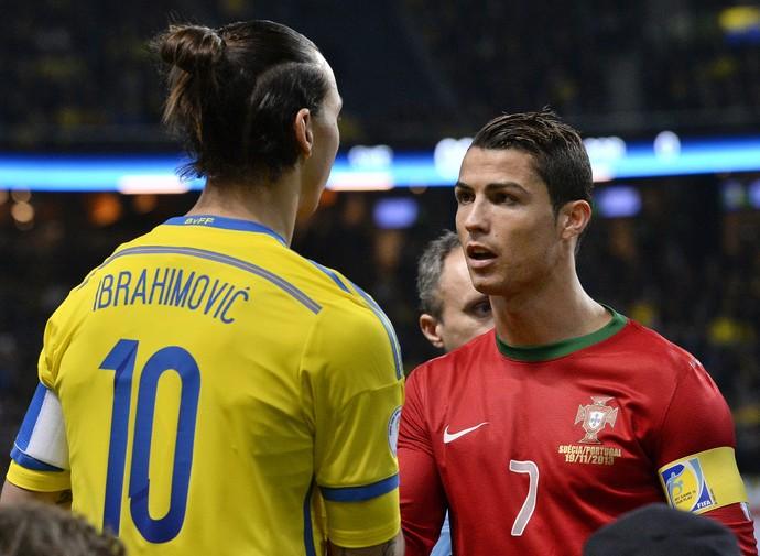 Ibrahimovic e Cristiano Ronaldo - Suécia x Portugal (Foto: AFP)