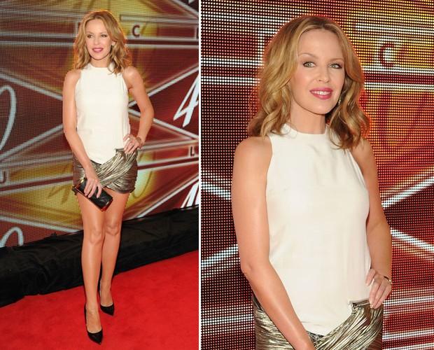 A cantora Kylie Minogue, com micro vestido by Anthony Vaccarello, na aniversário de 10 anos do 40/40 Club, em Nova York (Foto: Getty Images)