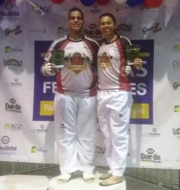 Philip Izidório e Taís Oliveira, bronze na Copa das Federações de Taekwondo (Foto: Philip Izidório/Arquivo Pessoal)