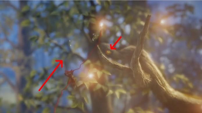 Por fim o último botão de Unravel pode ser obtido em meio aos galhos de uma árvore, como outros desta fase (Foto: Reprodução/Rafael Monteiro)