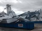 Chuva e ventania derrubam silos e alagam ruas em São Borja e Bagé