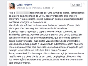 Estudante publica indignação contra música sexista que teria sido entoada por integrantes de bateria da UFMG. (Foto: Reprodução/Facebook)