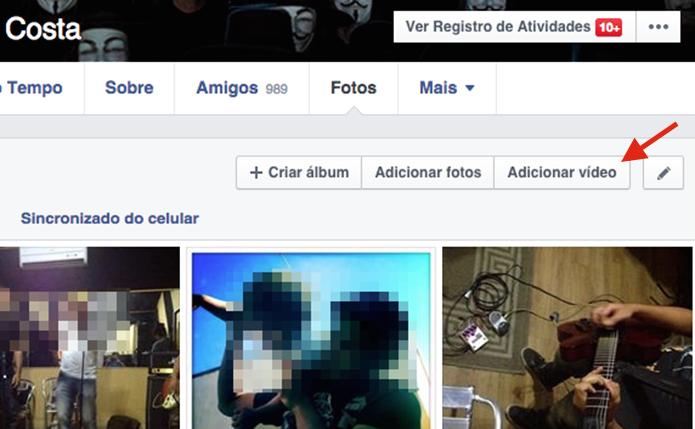 Adicionando um vídeo no Facebook (Foto: Reprodução/Marvin Costa)