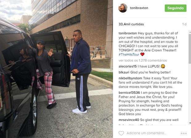 Toni Braxton agradeceu carinho dos fãs ao ter alta do hospital (Foto: Reprodução/Instagram)
