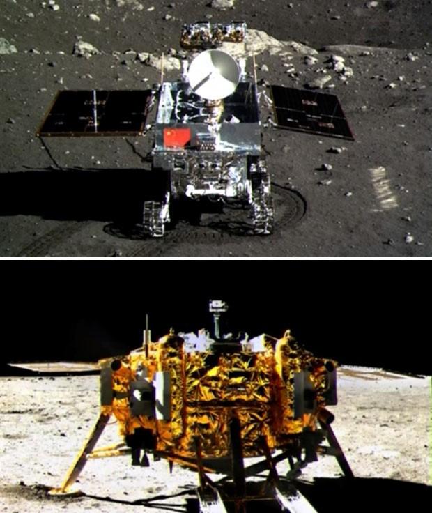 Veículo teleguiado 'Coelho de Jade' (em cima) e módulo de pouso da sonda Chang'e-3 (embaixo) tiram fotos mútuas na superfície da Lua.  (Foto: AFP Photo/CCTV)