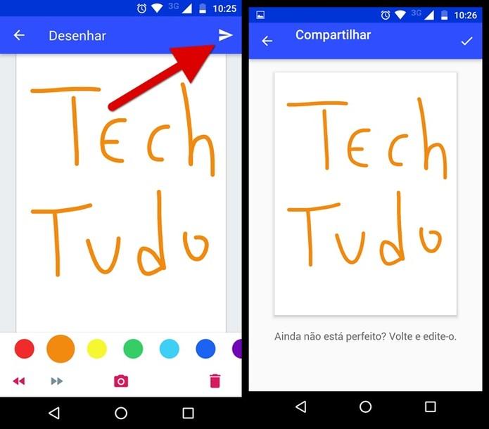 Compartilhando o seu desenho (Foto: Felipe Alencar/TechTudo)